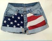 American Flag Jean Shorts