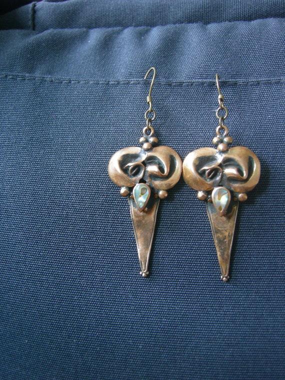Art Nouveau Earrings with Rainbow Pearl Enamel Drop