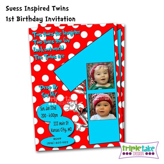 Items Similar To DIY Twins Custom 1st Birthday Invitation