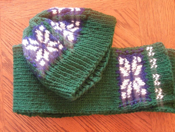 Hat and Scarf, Blue Green and Snowflake pattern