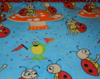 Ladybugs Fleece Ties Blanket, Ladybugs blanket, fleece