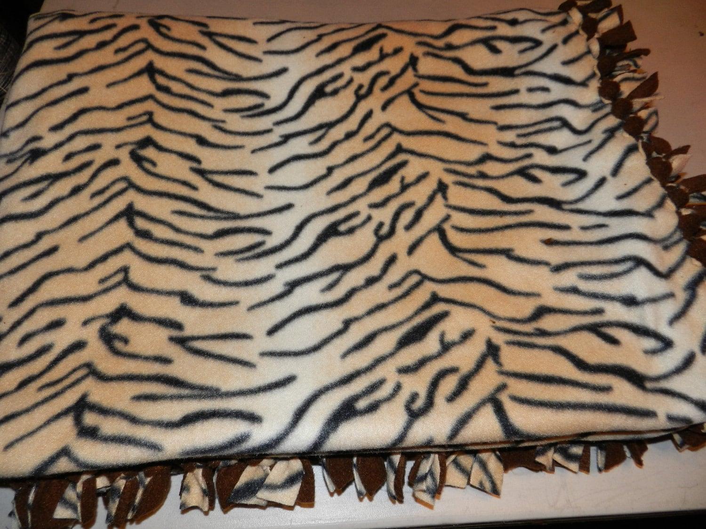 tiger print fleece tie blanket