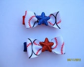 Red White and Blue Baseball Hair Clip with Bow