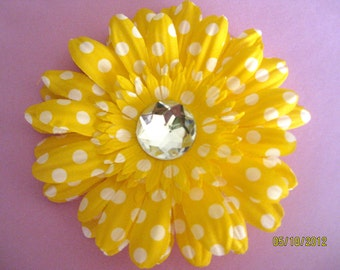 Yellow Polka Dot Flower Hair Clip with Rhinestone-last one left being discontinued!