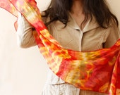 Fine cotton fire scarf Fallshawl Fire prints Long scarflette Red Orange Yellow, Size 59'/150 cm x 19'/50 cm