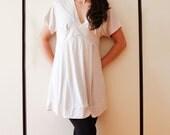 Maternity Dress, Elastic Cotton Material White Tunic