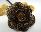Big Brown Rose - French Beaded Flower