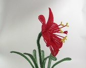 French Beaded Flower, Large Red Aztec Lily