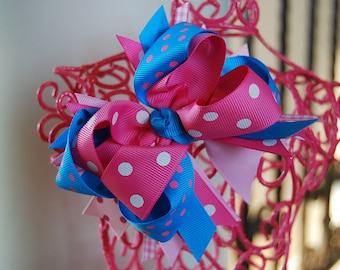Boutique Hair Bow Layered Bow Pink & Turquoise