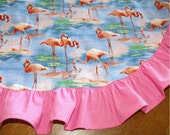 Ladies Pink and Blue Flamingo One Size Apron