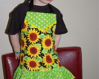 SALE Sunflower Toddler Apron - Girl's Size 4 Sunflower Apron with Ruffle