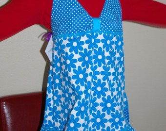 SALE Girls Daisy Halter Apron with Ruffle-Size 5 to 6