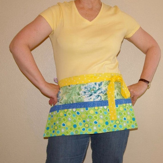 Utility Apron- Yellow and Blue Floral