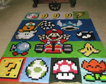 Super Mario Kart Quilt with Lakitu, Bo-omb, Winged Koopa Shell, Boo Ghost, Bigness Mushroom - Video Game Quilt