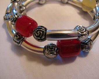 Red Glass Memory Wire Bracelet