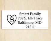 Return Address Stamp - Heart with Monogram 2.5 x 1 inch