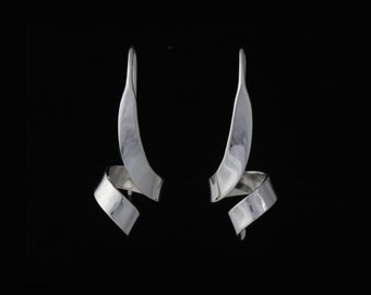 Sterling silver earrings, hand fabricated, rm-7.