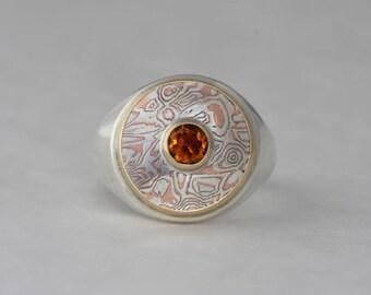 Mokume gane ring with citrine and garnet, size 9 1/4, #29.
