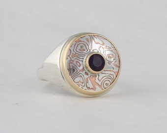 Mokume gane and amethyst ring, size 7 3/4, #99.