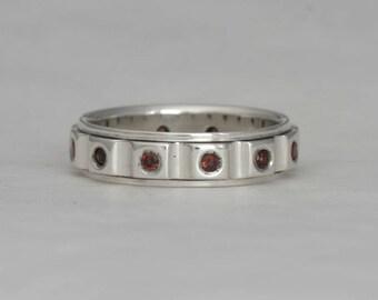 Vintage Handmade Organic Silver Ring Spinel