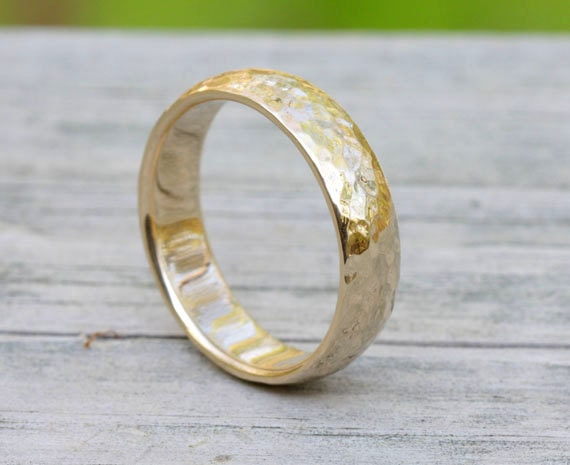 Size 12 hammered 14k gold ring band, #156.
