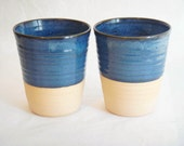 Pottery cups, two blue tall ceramic cup, coffee mug without a handle, Forest series