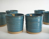 Blue ceramic cups, everyday pottery tumblers, two tea cups, Forest series