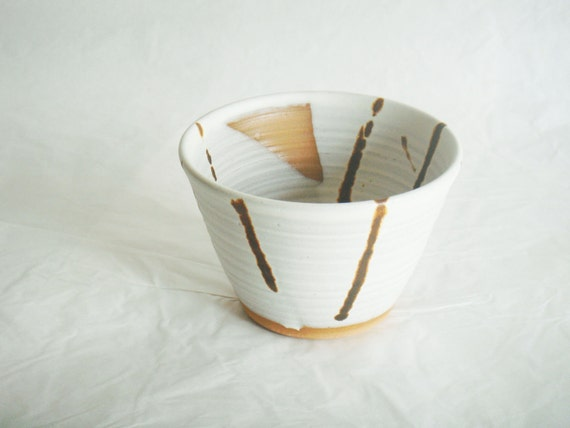 Small white and brown pottery bowl, ceramic bowl, Forest Fog series