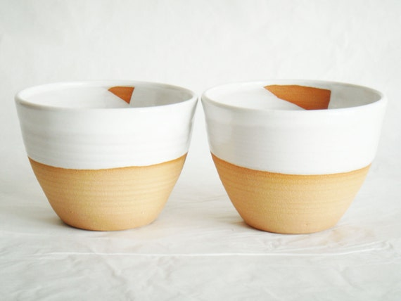Modern white pottery cups, two ceramics tea bowls, Forest series