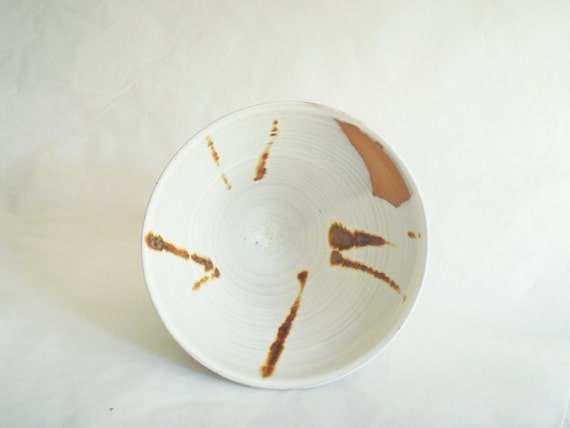 Ceramic pottery bowl, brown and white decorative bowl, Forest Fog series