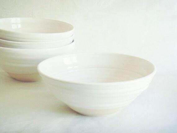 Pottery serving bowl, one medium white-on-white modern ceramic bowl, Forest series