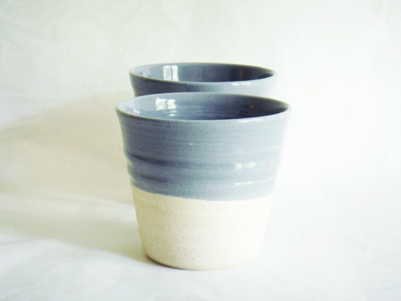 Pottery cups, ceramic tumblers in grey and white, Forest series
