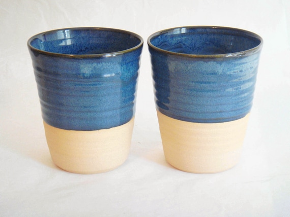 Pottery Cups Two Blue Tall Ceramic Cup Coffee Mug Without A