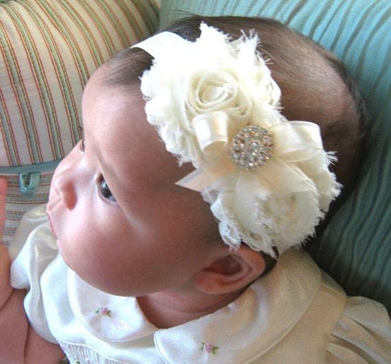 Vintage Christening Headband .. Baby Baptism Headband .. Baby Girl Headband .. Newborn Headband .. Shabby Ivory  Flower Headband