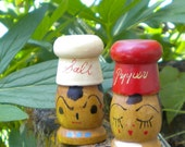 Mini Wooden Salty and Peppy Shakers