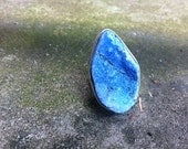SKY BLUE Freeform Druzy  Agate ring - silver