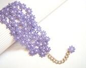 Lavender flowers Lace Bracelet -Cuff