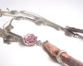 Extravagant Textile Necklace - Textile Rose