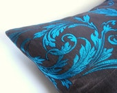 2 Pillows Covers Turquoise and Brown 18/18,Turquoise Flowers Pillow Covers