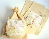 6 Vintage Favor Bags,Rustic Wedding Favor Bags,Shabby Chic Favor Bag,Bridesmaid Favor Bag,Gift Bags