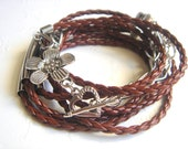 Wrap Leather Bracelet,Wrap Leather Cuff,Brown Leather Bracelet,Wrap Bracelet or Necklace