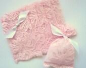 10 Powder rose lace favor bags