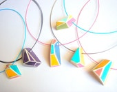 Pastel Geometric Necklace,Summer Geometric Necklace in Mint,Yellow,Coral
