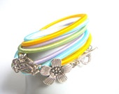 Summer Pastel Wrap Bracelet or Necklace,Wrap Textile Bracelet,Pastel Cuff