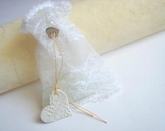 50 Favor Bags ,Thank you Tags, Lace Favor Bag,Baby Shower Favor,Wedding Lace Bag,Lace Bag