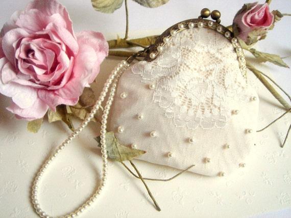 Bridal Clutch,Vintage Ivory Color Bag,Bridesmaids Clutch,Bridal Bag,Flower Girl Bag,Vintage Wedding lace Bag