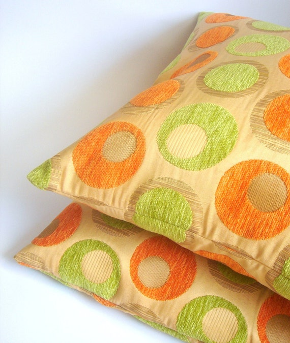2 Geometric Pillow covers in Orange &Light Green 16/16 Ready to be shipped
