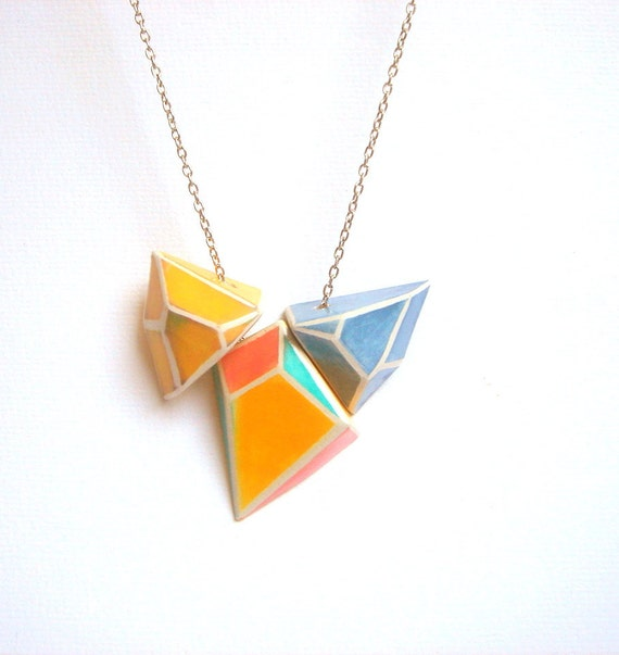 Hand-painted Pastel Geometric Necklace,Summer Ceramic  Necklace in Mint,Yellow, Coral,Blue,Pastel Geometric