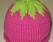 Hand Knitted Raspberry Hat