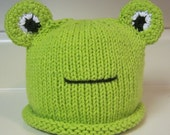 Hand Knitted Frog Hat, Lime Green